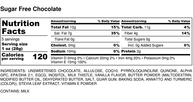 Stevia Sugar Free Chocolate Cookie Nutrition Facts